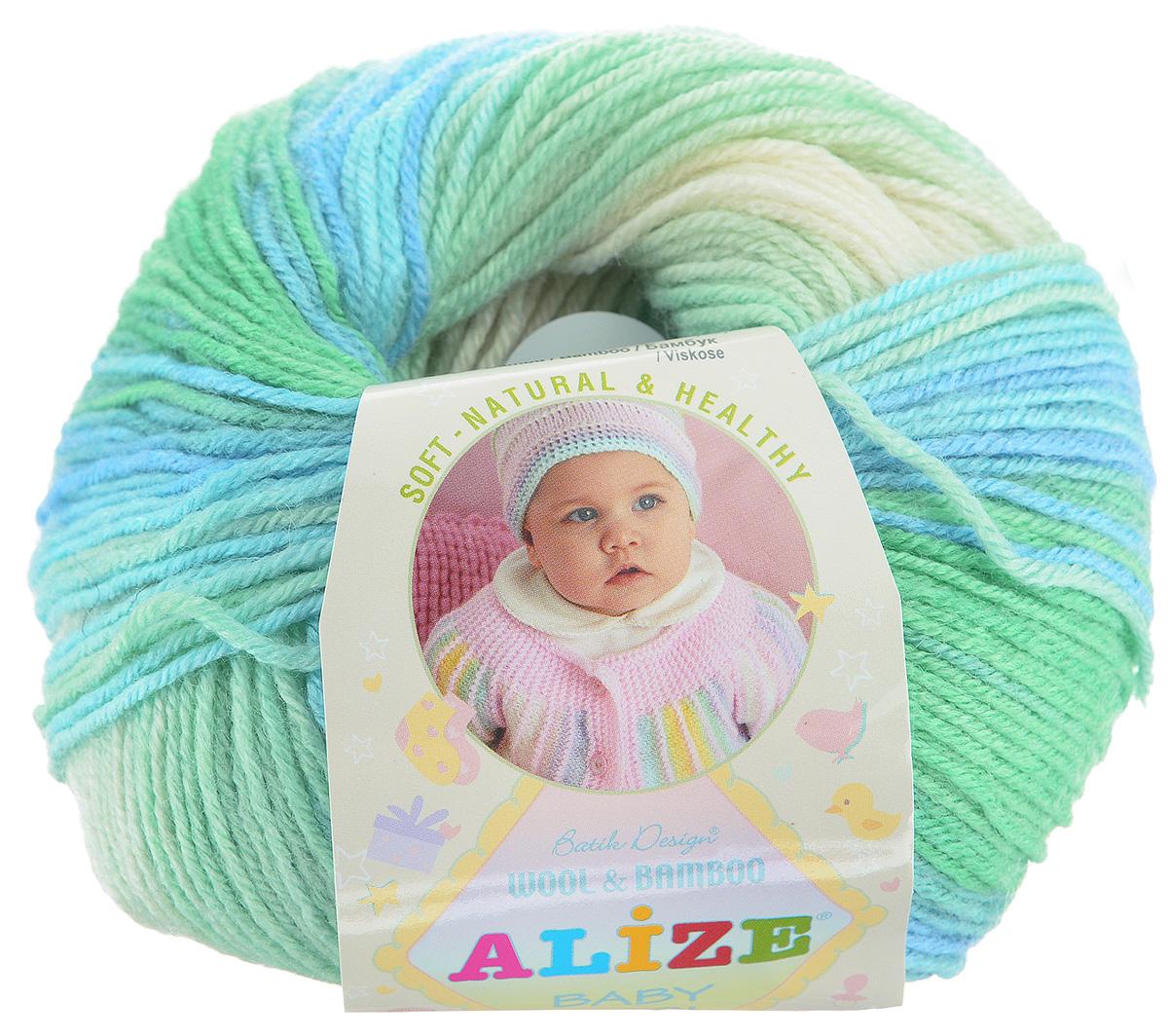 цена на Пряжа для вязания Alize Baby Wool Batik Design, цвет: белый, зеленый, голубой (4389), 175 м, 50 г, 10 шт