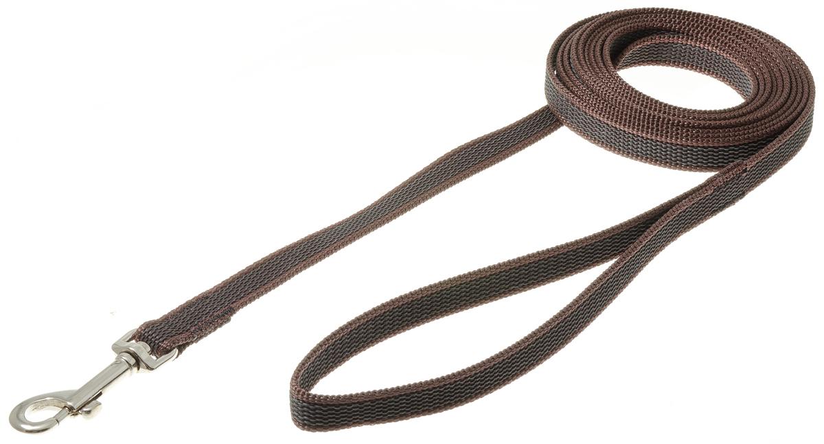 Фото - Поводок для собак V.I.Pet, профессиональный, цвет: стальной, коричневый, ширина 15 мм, длина 3 м trixie стойка с мисками trixie для собак 2х1 8 л
