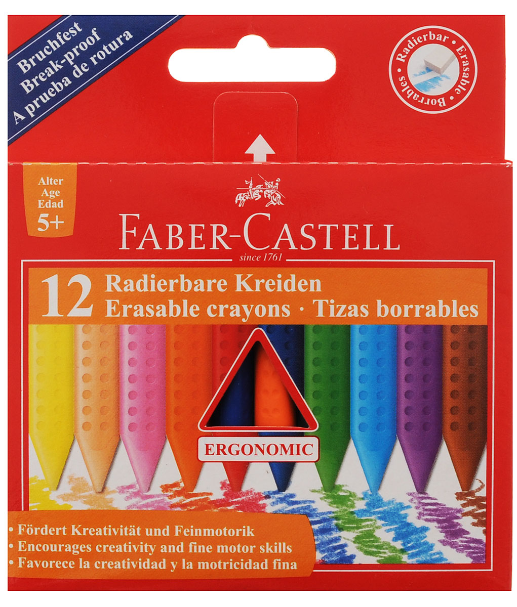 Faber-Castell Восковые мелки Radierbare Kreiden стирающиеся 12 цветов карандаши восковые мелки пастель giotto мелки восковые мелки cera ast 24 цвета