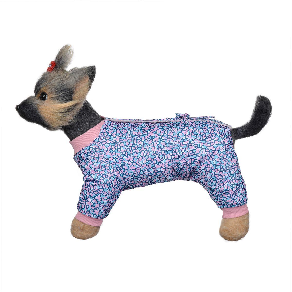 """Комбинезон для собак Dogmoda """"Лаки"""", зимний, для девочки, цвет: розовый, синий. Размер 1 (S)"""