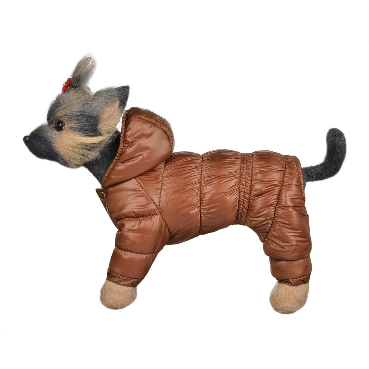 "Пуховик для собак Dogmoda ""Тренд"", зимний, унисекс, цвет: коричневый, бежевый. Размер 1 (S)"