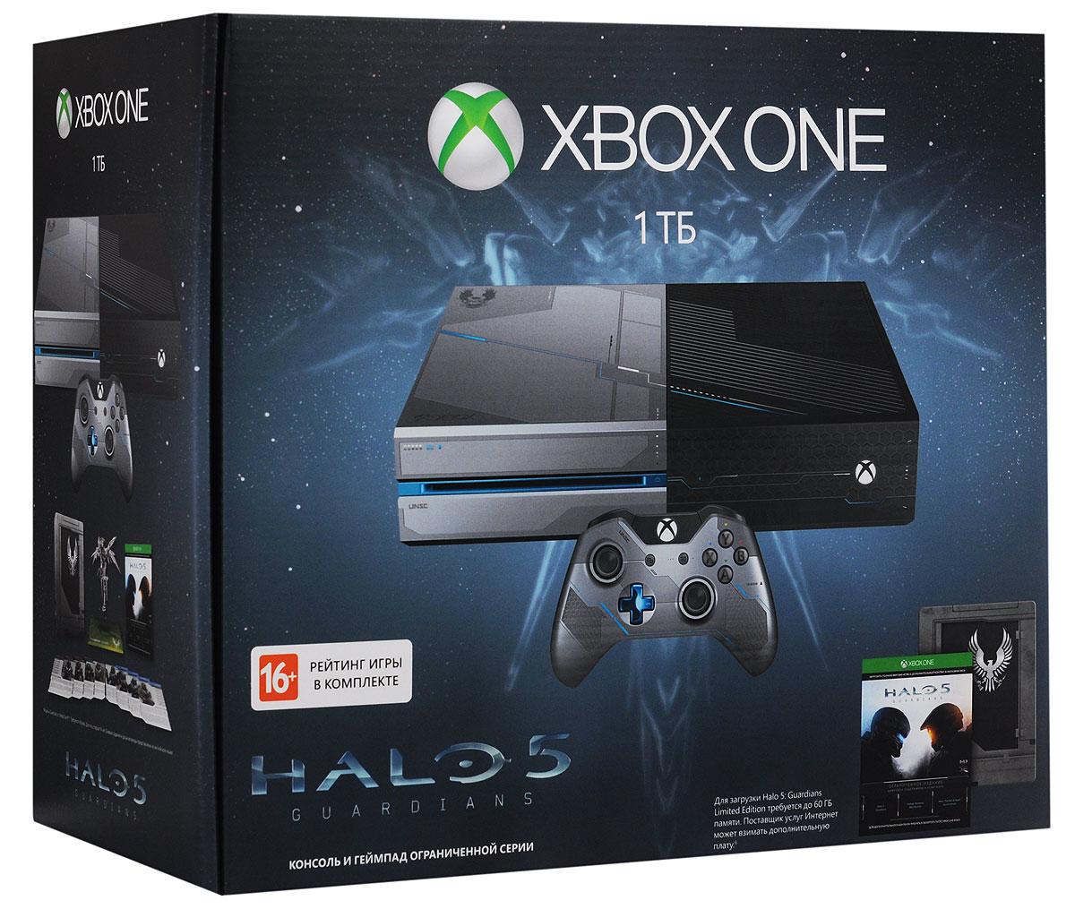 Игровая приставка Xbox One 1 ТБ + Halo 5: Guardians игровая консоль microsoft xbox one s 1 тб [234 00311] игра playerunknown s battlegrounds