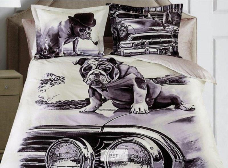 Фото - Комплект белья Mona Liza Pet, евро, наволочки 50х70, 70х70, цвет: серый, бежевый, темно-коричневый шарф женский fabretti цвет темно серый qf005 1 размер 190 см х 70 см