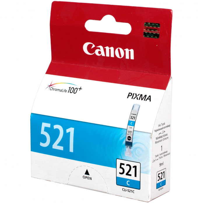Картридж Canon CLI-521C, голубой, для струйного принтера, оригинал