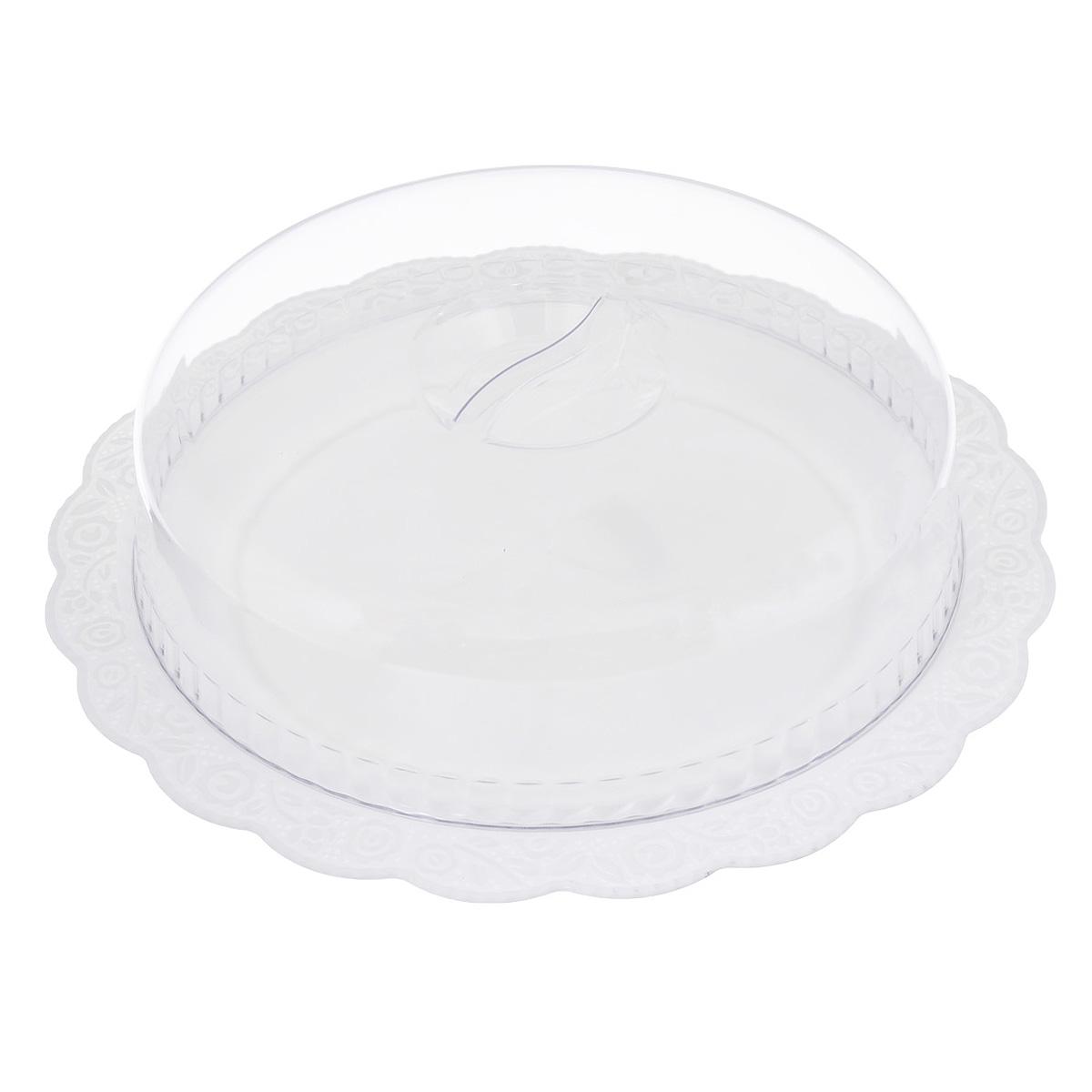 Блюдо Альтернатива Нежность, с крышкой, цвет: белый, прозрачный, диаметр 36,5 смM1206Круглое блюдо Альтернатива Нежность, выполненное из высококачественного пищевого пластика, оснащено прозрачной крышкой. Волнообразные края изделия оформлены красивым рельефным рисунком. Блюдо идеально для подачи торта и больших пирогов. Оригинальный дизайн придется по вкусу и ценителям классики, и тем, кто предпочитает утонченность и изысканность. Диаметр блюда: 36,5 см. Диаметр крышки: 28 см. Высота (с учетом крышки): 10 см. Рекомендуем!
