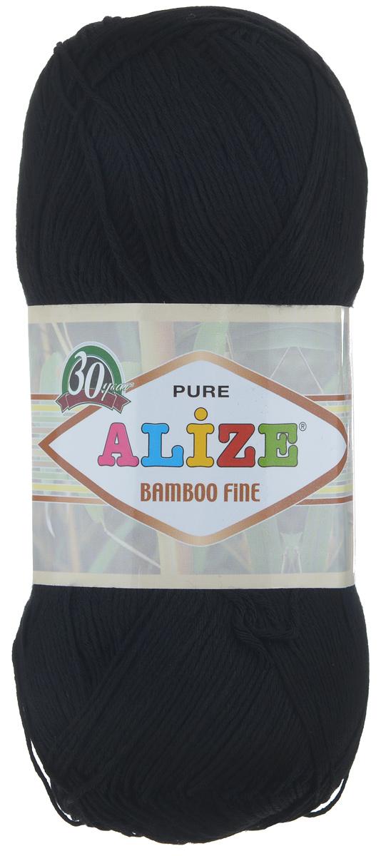Пряжа для вязания Alize Bamboo Fine, цвет: черный (60), 440 м, 100 г, 5 шт пряжа для вязания alize bamboo fine цвет зеленый синий фиолетовый 3260 440 м 100 г 5 шт