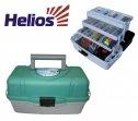 Ящик рыболова Helios, трехполочный, цвет: зеленый