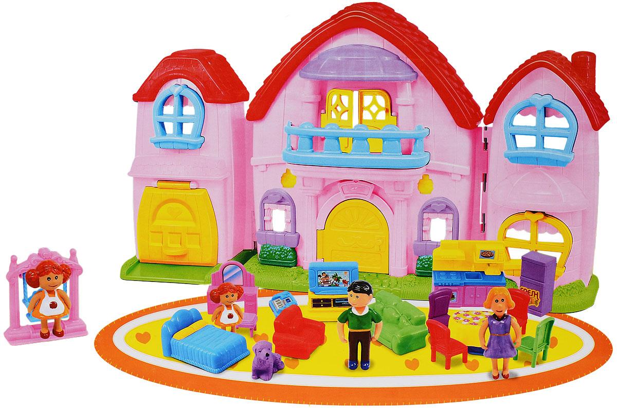 """Кукольный домик """"Милый дом"""", с аксессуарами, цвет: розовый. HWA793343"""
