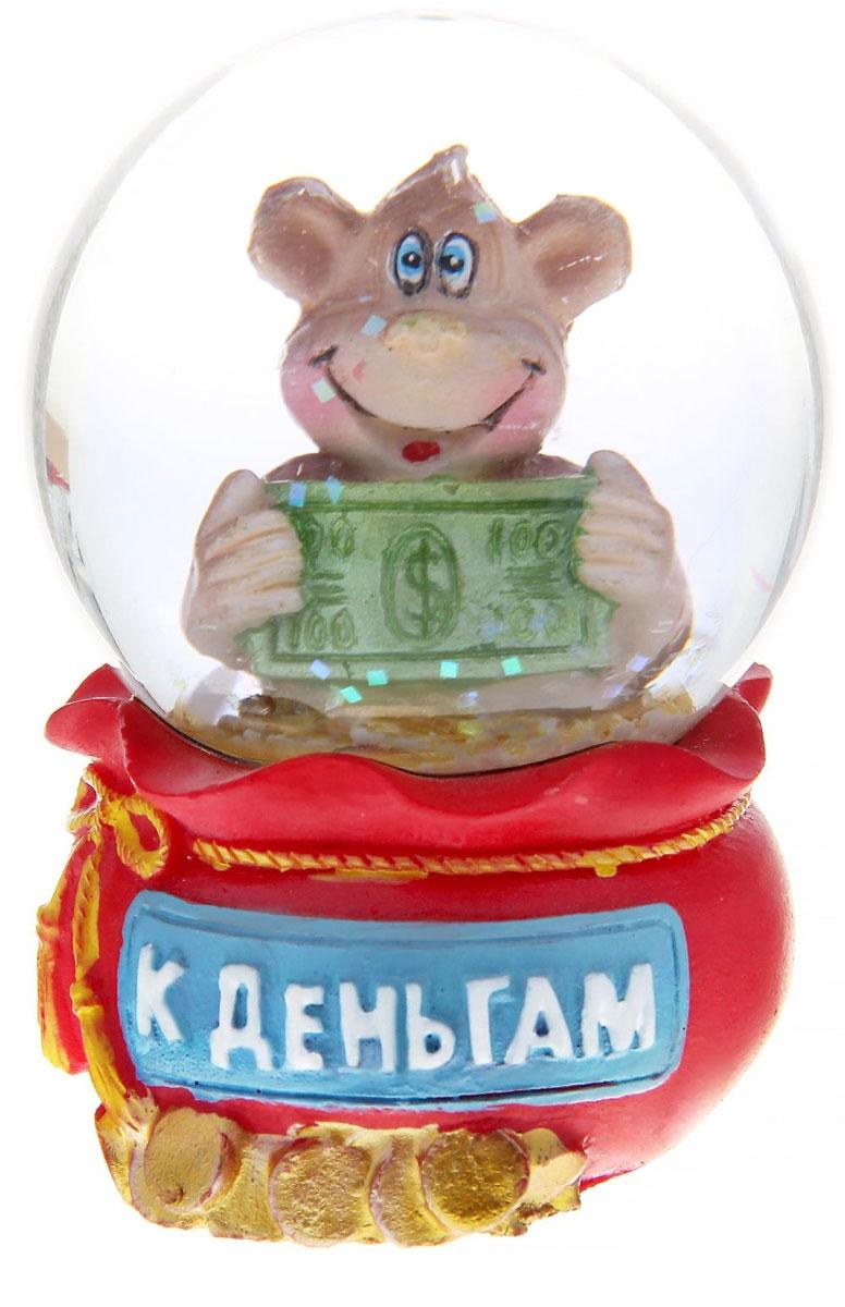 Новогодний водяной шар Sima-land К деньгам. Обезьянка с долларом, диаметр 4,5 см