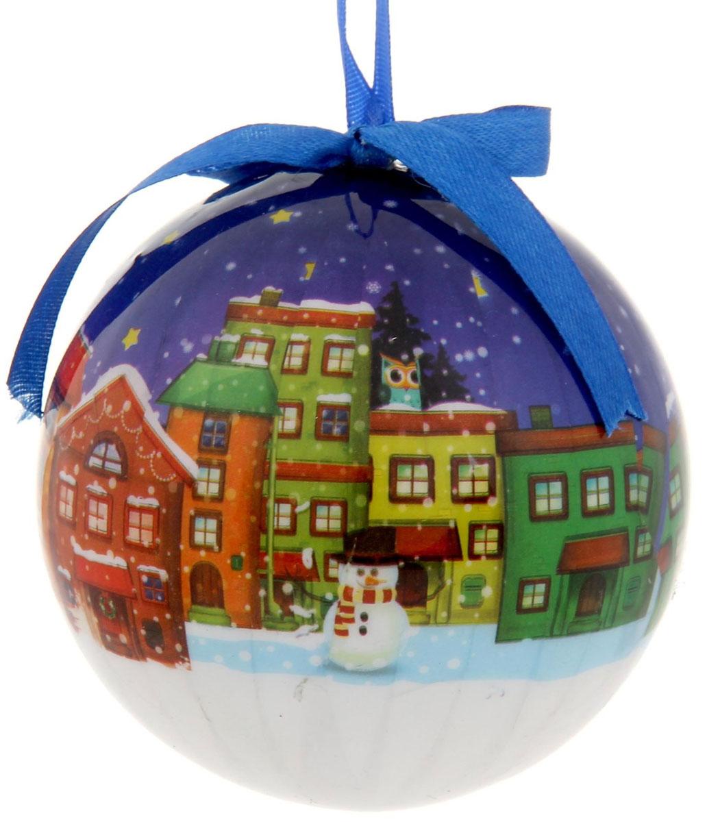 Новогоднее подвесное украшение Sima-land Домики, диаметр 10 см новогоднее подвесное украшение sima land зимний узор диаметр 10 см