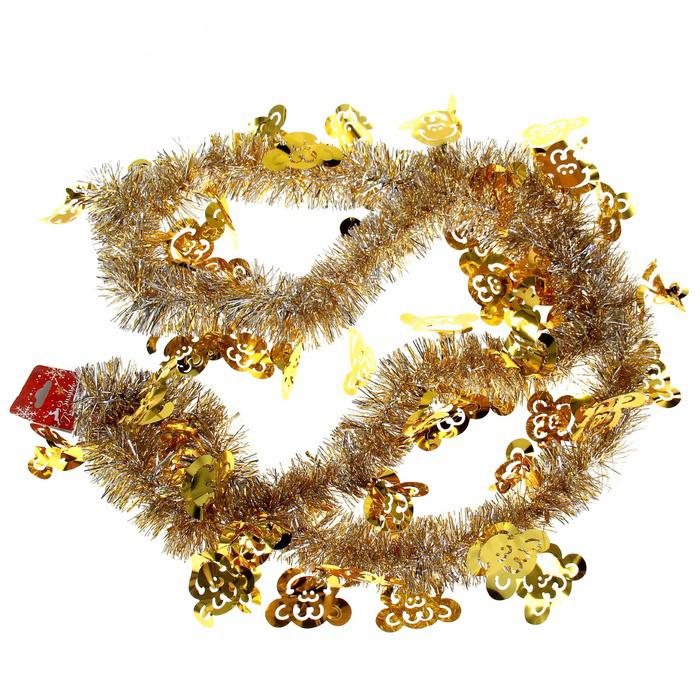 Мишура новогодняя Sima-land Обезьяна, цвет: золотистый, серебристый, диаметр 5 см, длина 200 см мишура новогодняя sima land цвет золотистый диаметр 10 см длина 160 см 623233