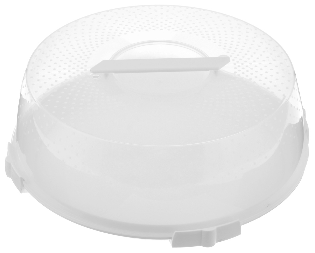 Тортница Cosmoplast Оазис, цвет: белый, прозрачный, диаметр 32 см тортница cosmoplast оазис цвет красный прозрачный диаметр 28 см
