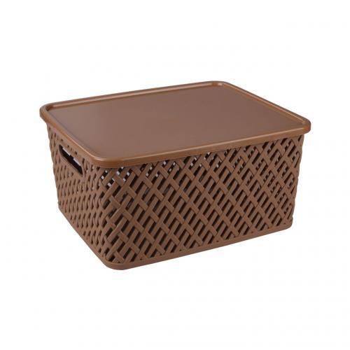 Корзина Альтернатива Плетенка, с крышкой, цвет: темно-коричневый, 35 х 29 х 17,5 см корзина для хранения альтернатива вдохновение цвет салатовый 26 5 х 16 5 х 10 см