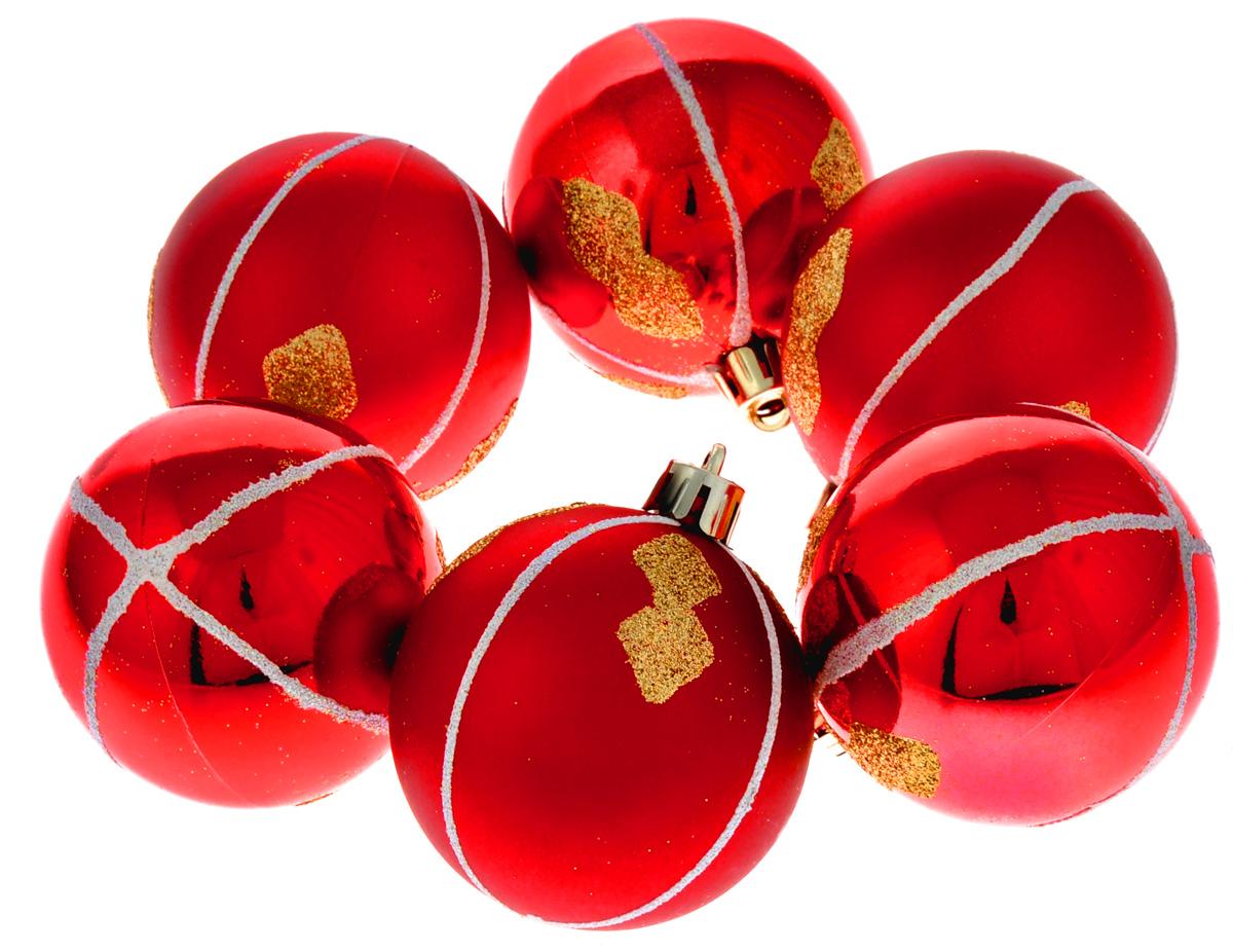 Набор новогодних подвесных украшений Феникс-Презент Ассорти, цвет: красный, диаметр 6 см, 6 шт набор новогодних подвесных украшений феникс презент ассорти цвет красный диаметр 6 см 6 шт