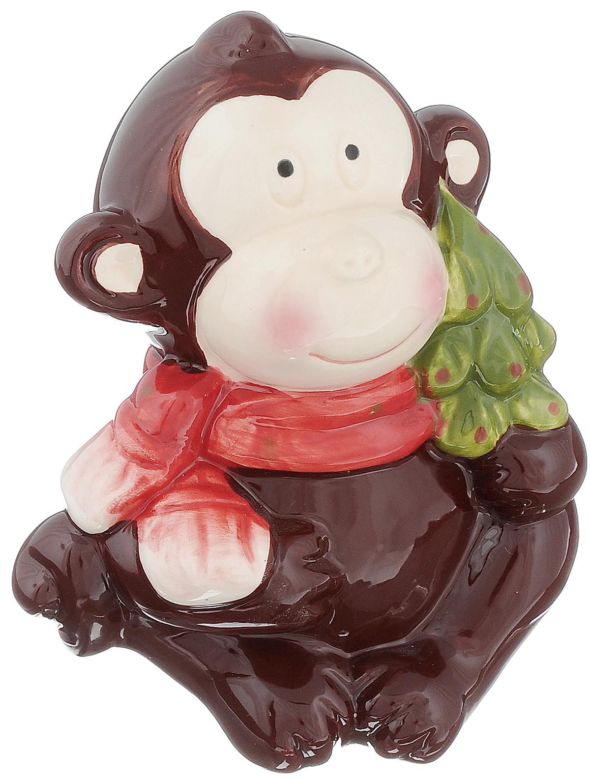 Сувенир Sima-land Обезьянка в шарфике с елочкой, высота 11,5 см подсвечник декоративный sima land обезьянка в шарфике на шаре высота 13 3 см