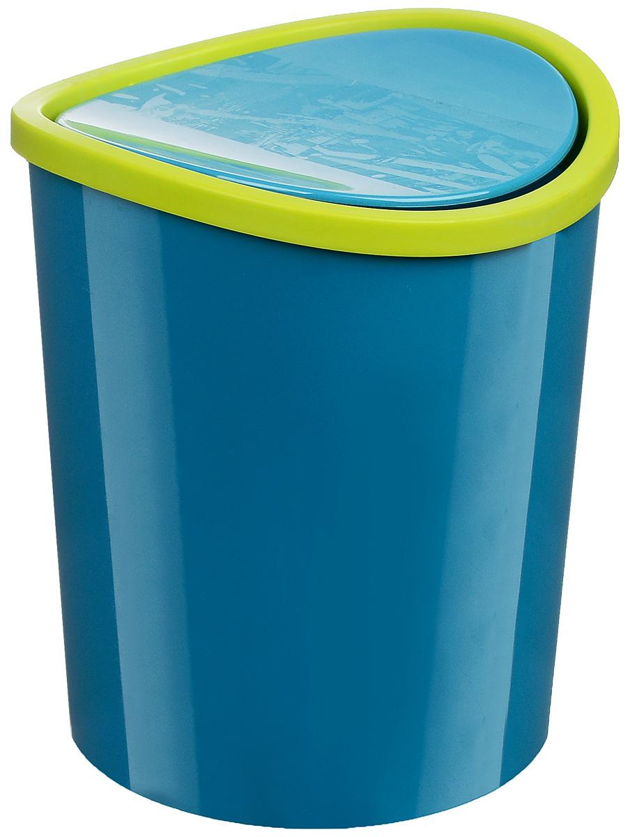 Контейнер для мусора Idea, цвет: бирюзовый, салатовый, 1,6 л контейнер для мусора idea хапс цвет коричневый мрамор 15 л