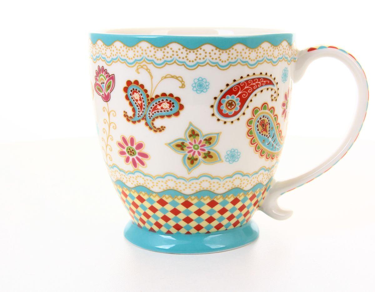 Кружка Цветочная мозаика 450 мл. бирюзовая на ножке. 290122 кружка на ножке elan gallery морское путешествие 450 мл
