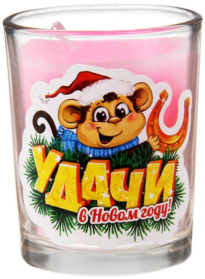 Свеча ароматизированная Sima-land Удачи в Новом году!, высота 6 см свеча декоративная sima land столбик цвет красный 296062