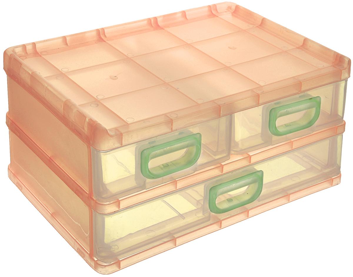 Контейнер для мелочей, цвет: прозрачный, оранжевый, 26 см х 17 см х 13,5 см. 531696 контейнер giaretti цвет кремовый прозрачный 29 2 х 17 х 11 см
