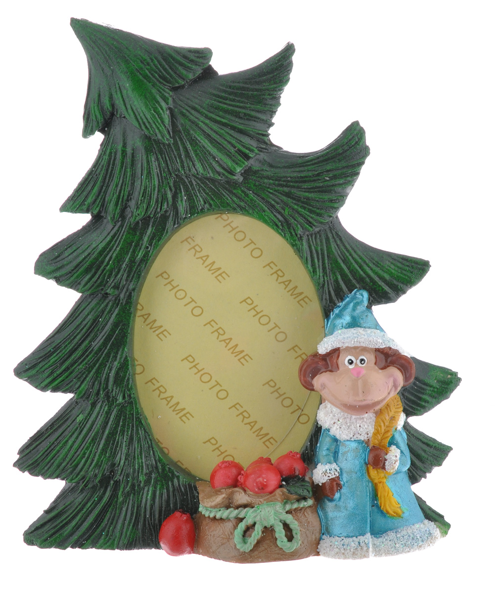 Фоторамка Sima-land Елочка с обезьянкой Снегурочкой, цвет: зеленый, голубой, 8 см х 5 см фоторамка sima land ажурная ветвь на 3 фото цвет черный 855791