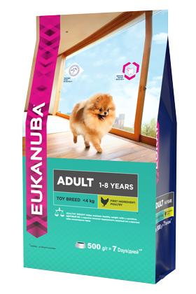 """Корм сухой """"Eukanuba"""" для взрослых собак миниатюрных пород, с курицей, 500 г"""