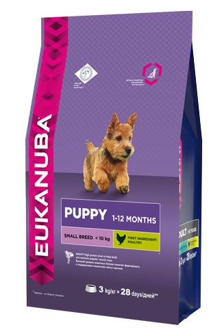 Корм Eukanuba Dog, для щенков мелких пород, 3 кг10137697Корм сухой полнорационный Eukanuba для щенков мелких пород от 1 до 12 месяцев (до 10 кг). Профессиональное сбалансированное питание, специально разработанное с учетом особенностей щенков мелких пород в возрасте от 1 до 12 месяцев. 1. ФИЗИЧЕСКАЯ ФОРМА: высокий уровень животных белков помогает формировать и поддерживать мышечную массу у щенков. 2. РОСТ: кальций, эффективность которого клинически доказана, способствует укреплению костей. 3. РАЗВИТИЕ: докозагексаеновая кислота (ДГК), эффективность которой клинически доказана, помогает щенкам становиться более смышлеными и способными к обучению и дрессировке. 4. ЗАЩИТА: антиоксиданты способствуют поддержанию естественной защиты организма щенков.