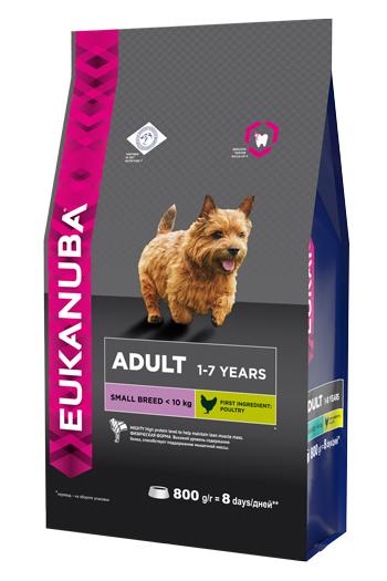 """Корм Eukanuba """"Dog"""", для взрослых собак мелких пород, 800 г"""
