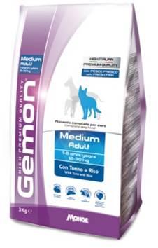 Фото - Корм Gemon Dog Medium, для взрослых собак средних пород, тунец с рисом, 3 кг корм gemon dog mini для щенков мелких пород тунец с рисом 3 кг