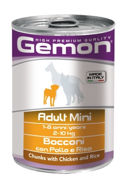 """Консервы Gemon """"Dog Mini"""", для собак мелких пород, кусочки курицы с рисом, 415 г"""