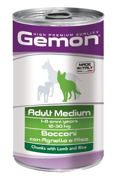 Консервы Gemon Dog Medium, для собак средних пород, кусочки ягненка с рисом, 1250 г70387910Полноценный консервированный корм для собак с кусочками ягненка и рисом. Специально разработан для ежедневного кормления взрослых собак средних пород (12-30 кг) с нормальной физической активностью в возрасте 1-8 лет. Гарантированный анализ: сырой белок 8,5%, сырые масла и жиры 6%, сырая клетчатка 0,5%, сырая зола 2,7%, влажность 80%. Витамины и добавки/кг: витамин А 2500 МЕ, витамин D3 250 МЕ, витамин Е (альфа-токоферол ацетат) 10 мг. Подавать корм комнатной температуры или подогретый. Важно, чтобы животное всегда имело доступ к чистой, свежей воде. Суточная норма для взрослых собак средних пород (12-30 кг) составляет 880-1800г продукта, порция должна быть разделена на 2-3 приема пищи.