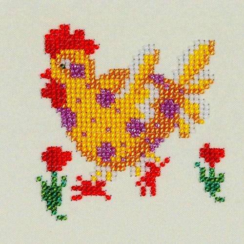 Набор для вышивания бисером Бисеринка Рябушка, 12 х 12 см набор для вышивания бисером бисеринка под зонтиком 12 х 12 см