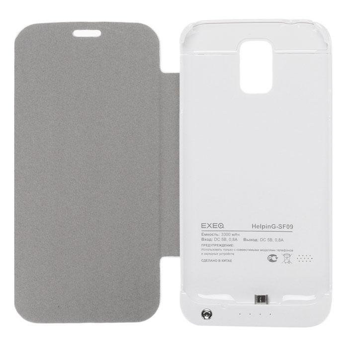 EXEQ HelpinG-SF09 чехол-аккумулятор для Samsung Galaxy S5, White (3300 мАч, флип-кейс)