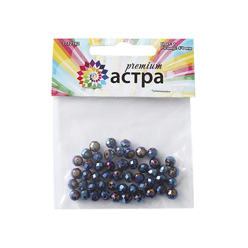"""<b>Бусины Астра</b> """"<b>Premium</b>"""", <b>цвет</b>: синий (1), 4 мм х 6 мм, 50 шт ..."""