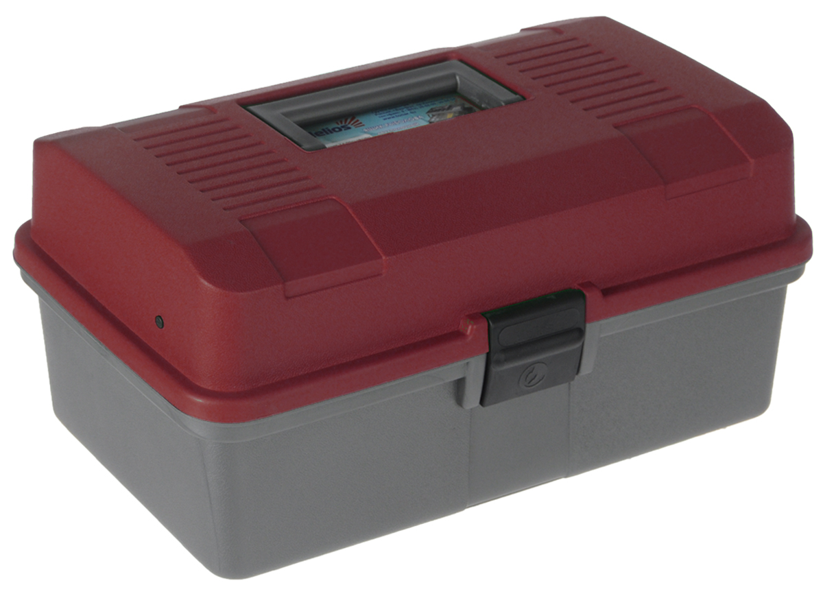 Ящик рыболова Helios, цвет: красный, серый, 34 см х 20 см х 16 см