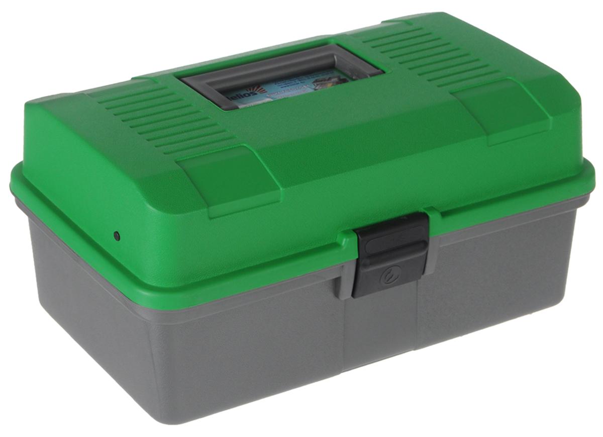 "Ящик рыболова ""Helios"", цвет: зеленый, серый, 34 см х 20 см х 16 см"