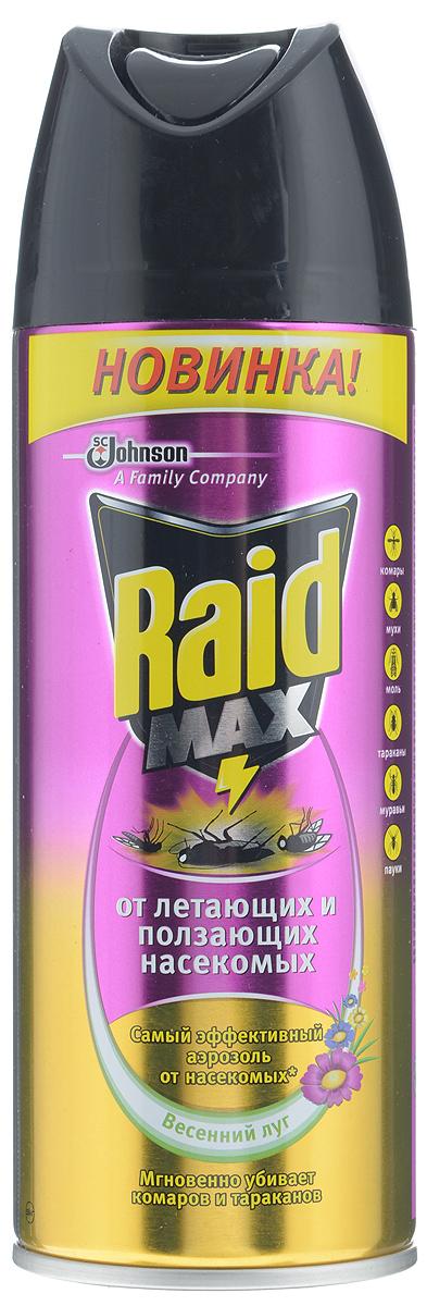 Аэрозоль от летающих и ползающих насекомых Raid Max, весенний луг, 300 мл аэрозоль от ползающих и летающих насекомых raid лаванда 300 мл