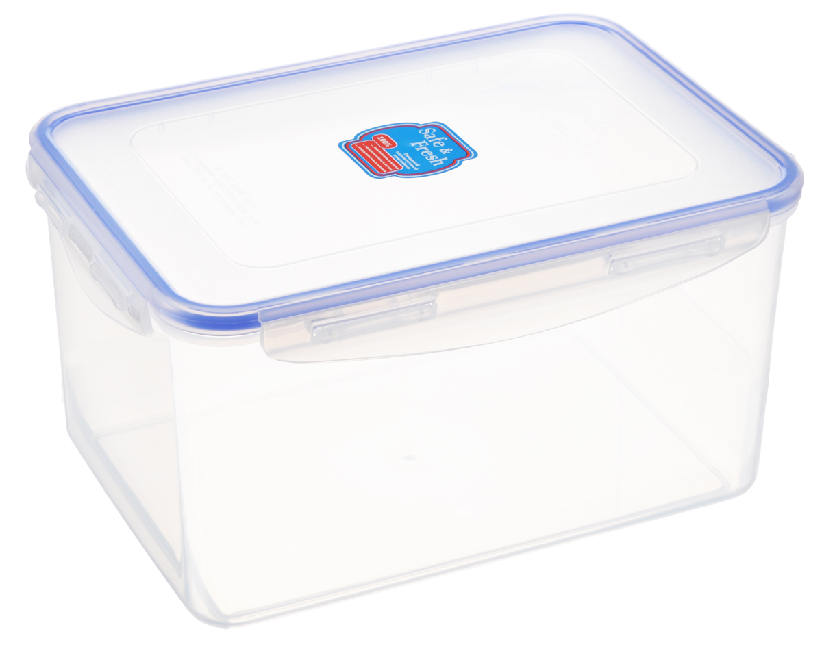 Контейнер пищевой Tek-a-Tek Safe & Fresh, цвет: прозрачный, синий, 3,1 л