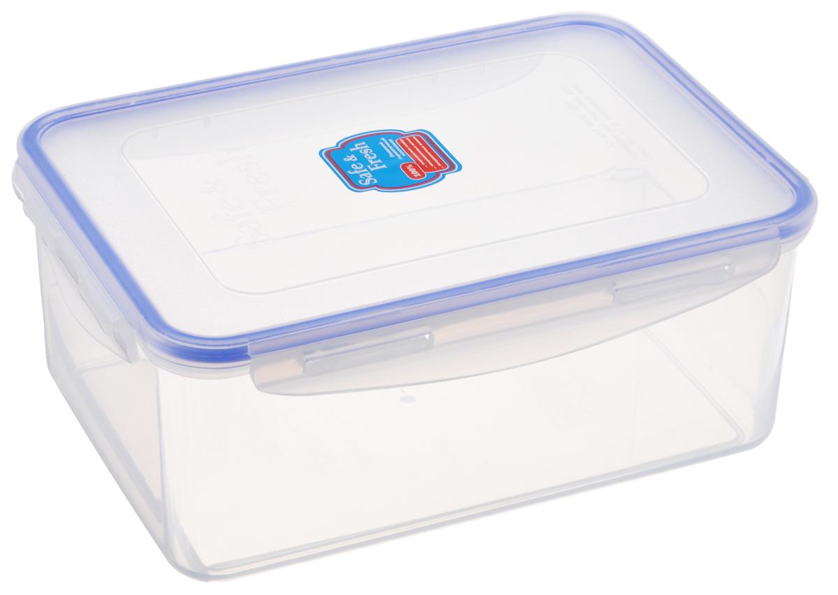 Контейнер пищевой Tek-a-Tek Safe & Fresh, цвет: прозрачный, синий, 2,3 л