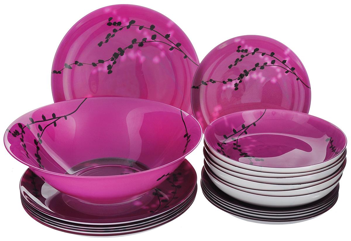 """Набор столовой посуды Luminarc """"Kashima Fushia"""", 19 предметов"""
