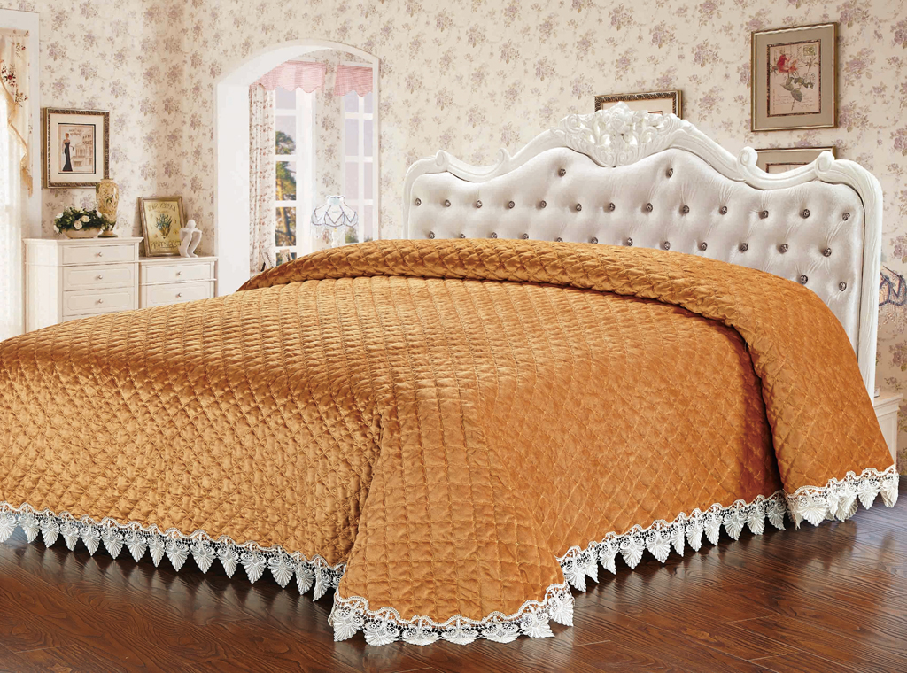 Покрывало стеганое SL, цвет: коричневый, 240 х 260 см. 10238 цена