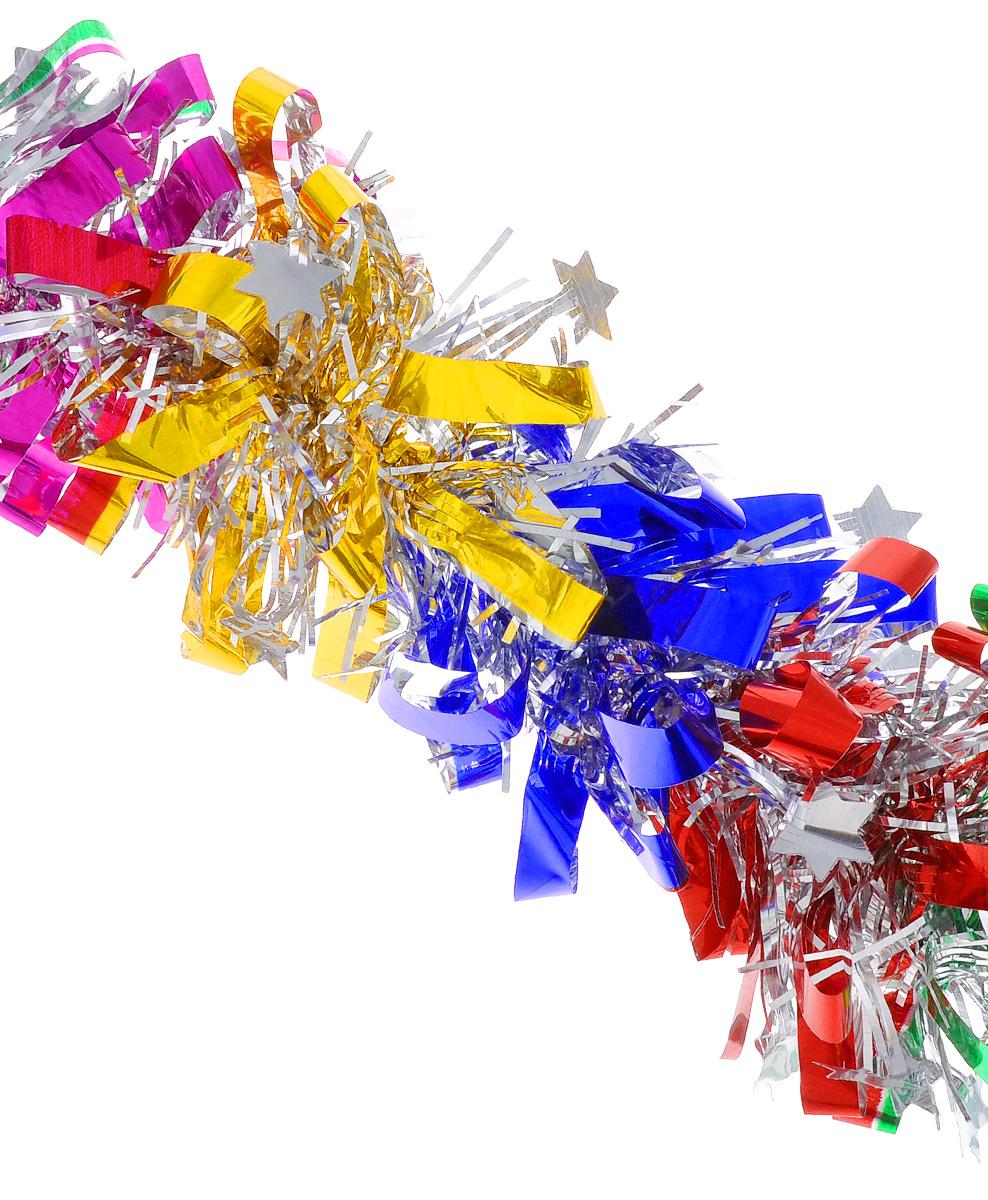 """Мишура новогодняя EuroHouse """"Звездочки"""", цвет: серебристый, красный, зеленый, диаметр 8 см, длина 200 см"""