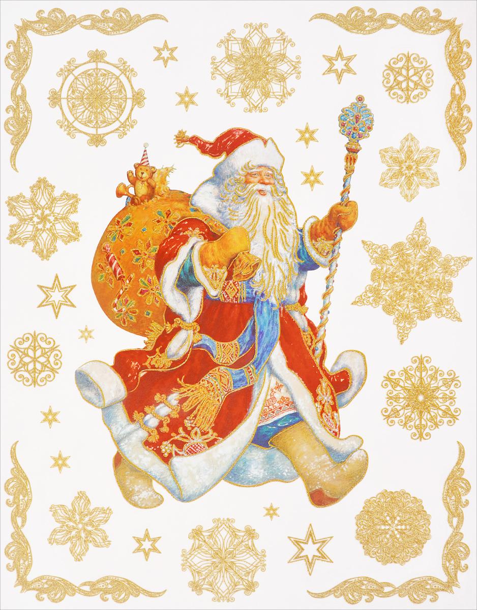 Новогоднее оконное украшение Феникс-Презент Дед Мороз с мешком подарков оконное украшение дед мороз и снегурочка 2000049137130 30 х 41 5 х 1 см