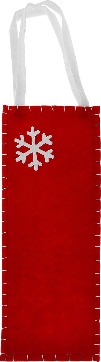 Новогодний мешочек для подарка Феникс-презент Снежинка, цвет: красный, белый, 14 см х 34 см феникс презент новогодний набор для вырезания феникс презент метелица 10 листов