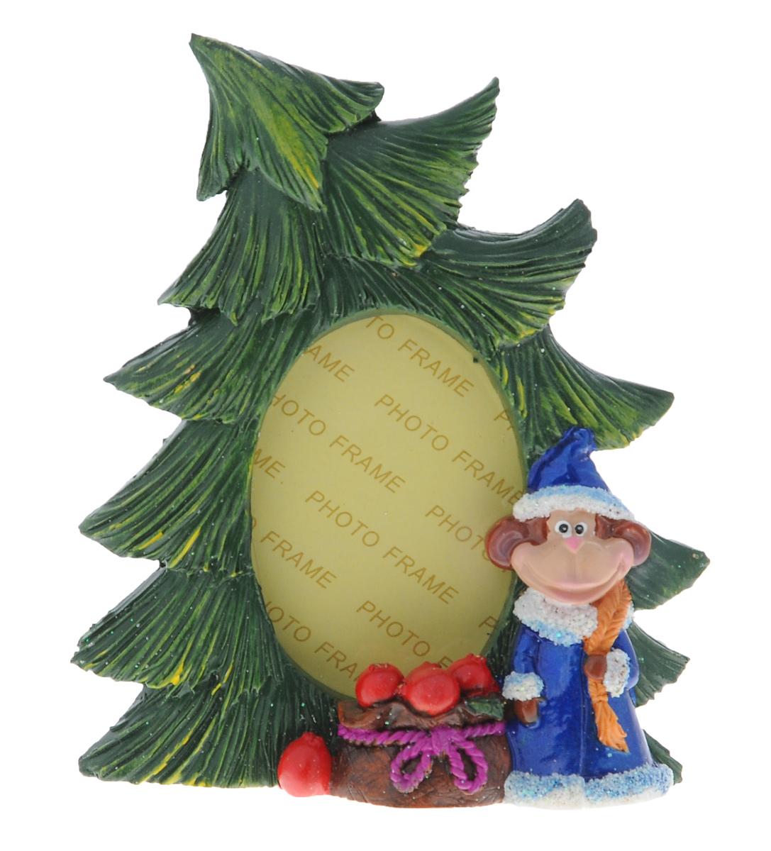 Фоторамка Sima-land Елочка с обезьянкой Снегурочкой, цвет: зеленый, синий, 8 см х 5 см фоторамка sima land ажурная ветвь на 3 фото цвет черный 855791