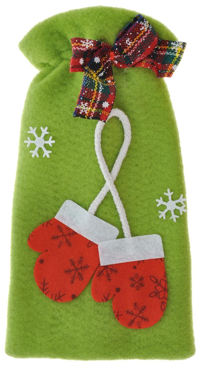 Новогодний мешок для подарка Феникс-Презент Варежки, цвет: фисташковый, 15 х 6 х 28,5 см декоративный магнит новогодний подарок 6 см х 5 см 31544