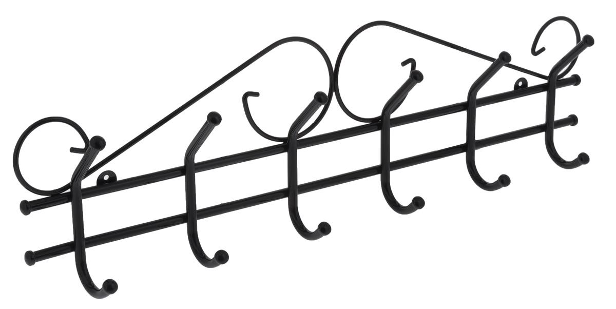 Вешалка настенная ЗМИ Ажур, с 6 крючками, цвет: черный, 71 х 8 х 21 см вешалка настенная зми кружева с 3 крючками цвет черный 20 х 4 х 13 см