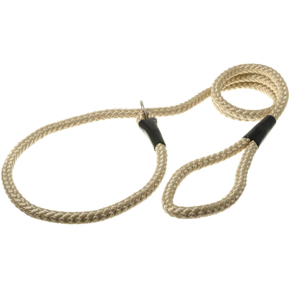 Поводок-удавка для собак V.I.Pet Нейлоновый канат, цвет: кэмел, ширина 12 мм, длина 170 см