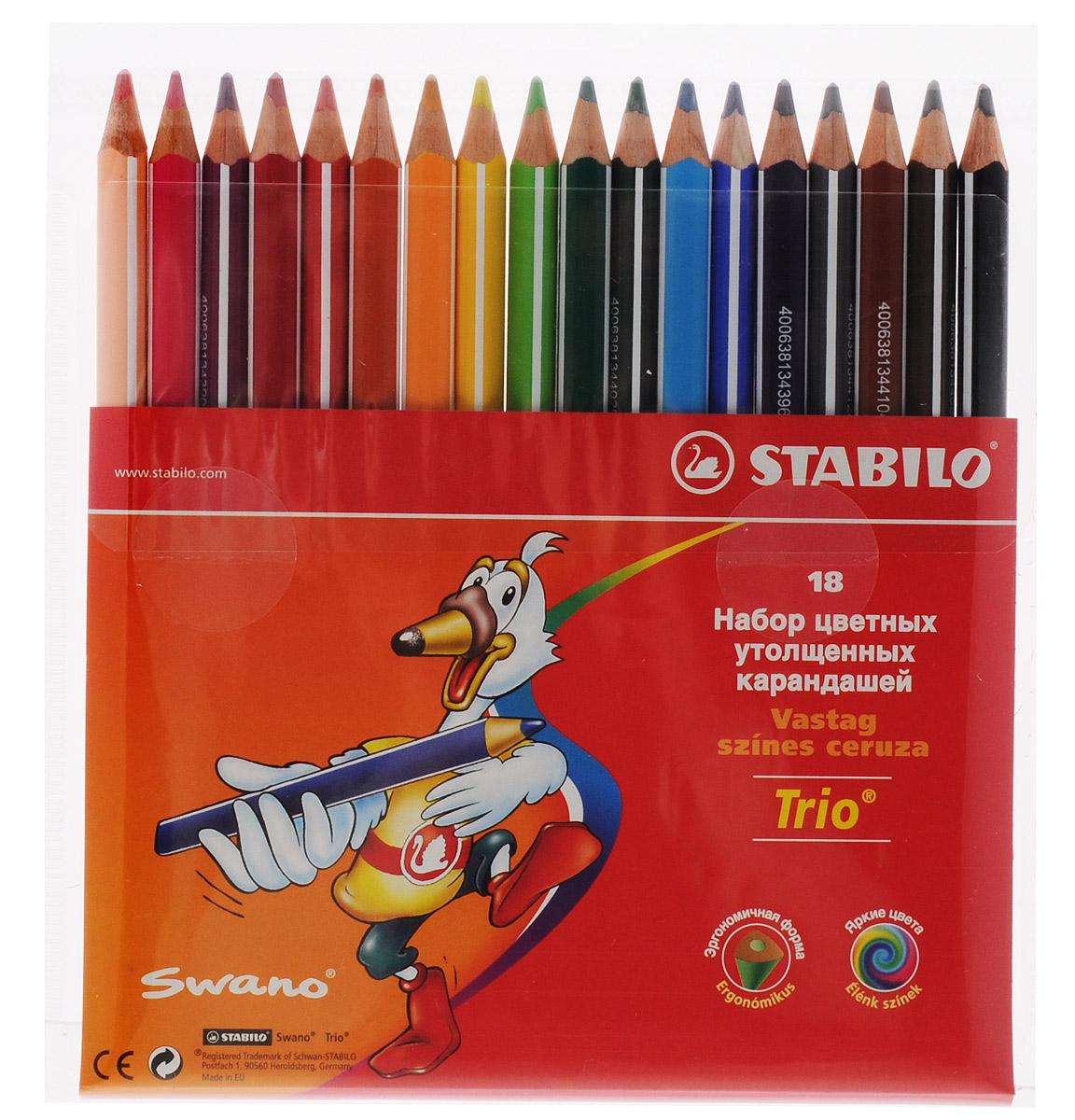 Stabilo Цветные карандаши Trio 18 цветов цветные карандаши stabilo 12 цветов