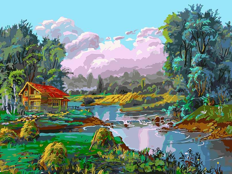 Живопись на холсте Белоснежка Стога у реки, 30 х 40 см набор для творчества белоснежка живопись на холсте 30 40см щенки на поляне