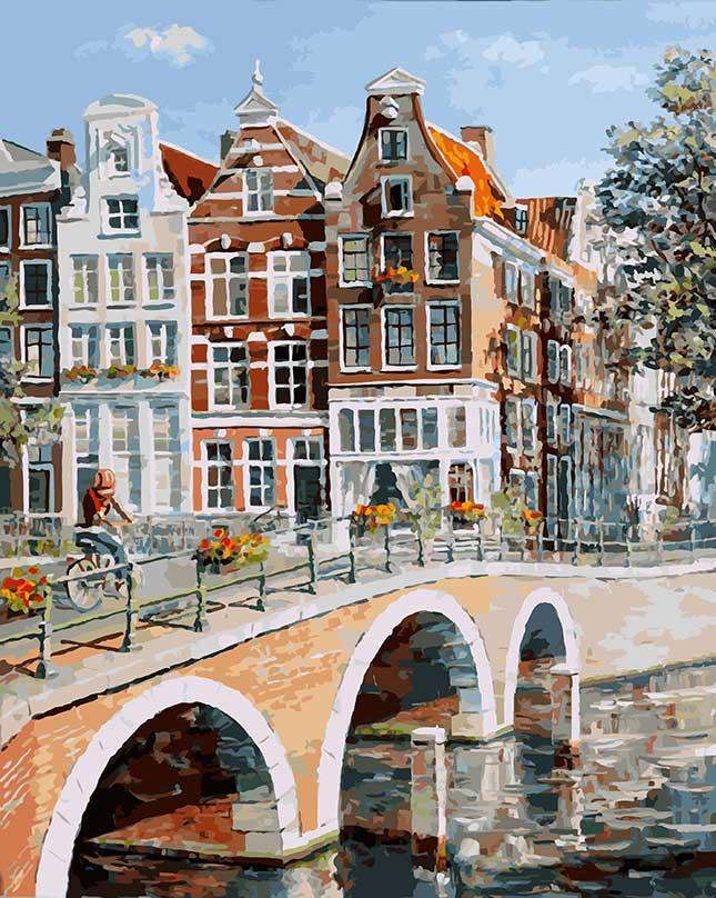 Живопись на холсте Белоснежка Императорский канал в Амстердаме, 40 х 50 см живопись на картоне белоснежка гранд канал венеция 30 х 40 см